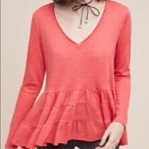 ANTHROPOLOGIE Deletta Thea Peplum Top Coral Med